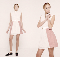 """Dusty pink"" dress with the white wool lace details. 