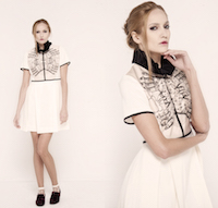 Ivory dress with the black frill on the neck. | must have | Fashion House IVANOVA - designer clothes
