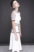 "white dress with the ""tattoed"" sleeves 